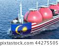 Malaysian gas tanker sailing in ocean 44275505