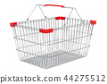 Metallic empty supermarket shopping basket 44275512