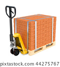 Pallet truck with stack of bricks, 3D rendering 44275767