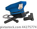 Police cap, handcuffs, gun and baton. 3D rendering 44275774