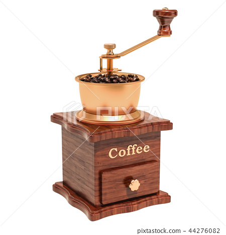 Manual coffee grinder with coffee beans 44276082
