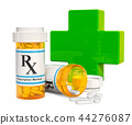 Medical care concept, green cross with drugs 44276087