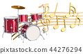 Musical concept. Drum kit with music notes 44276294