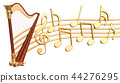 Musical concept. Harp with music notes 44276295