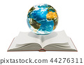 Opened book with Earth globe. 3D rendering 44276311
