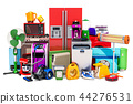 Set of colored kitchen and household appliances 44276531
