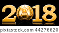 Soccer 2018 concept with golden football ball 44276620