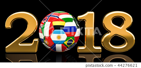 Soccer 2018 concept with soccer ball with flags 44276621
