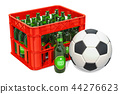 Soccer ball and crate with beers. 3D rendering 44276623