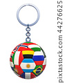 Soccer Ball Keychain with flags, 3D rendering 44276625