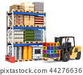Storehouse with forklift truck and pallet racks 44276636