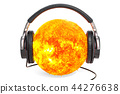 Sun with headphones, 3D rendering 44276638