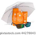 Sunscreen products with sunglasses under sun 44276643