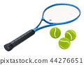Tennis racket and balls, 3D rendering 44276651