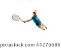 one caucasian man playing tennis player isolated on white background 44276686