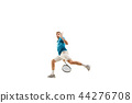 one caucasian man playing tennis player isolated on white background 44276708