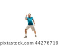 one caucasian man playing tennis player isolated on white background 44276719