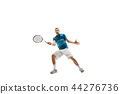 one caucasian man playing tennis player isolated on white background 44276736