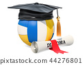 Volleyball ball with graduation cap and diploma 44276801