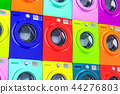 Wall from colored washing machines, 3D rendering 44276803
