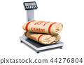 Warehouse scale with cement bags, 3D rendering 44276804