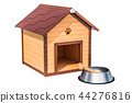 Wooden doghouse with bowl and bone 44276816