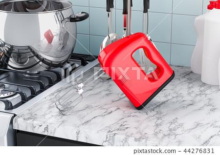 Kitchen mixer on the kitchen table. 3D rendering 44276831