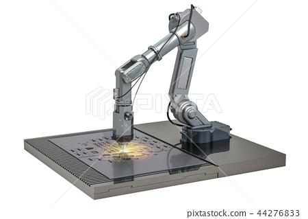 Laser cutting of metal sheet by robotic arm 44276833