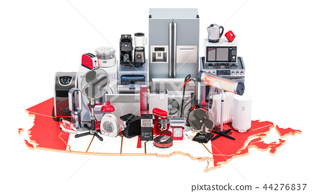 Map of Canada with home and kitchen appliances 44276837