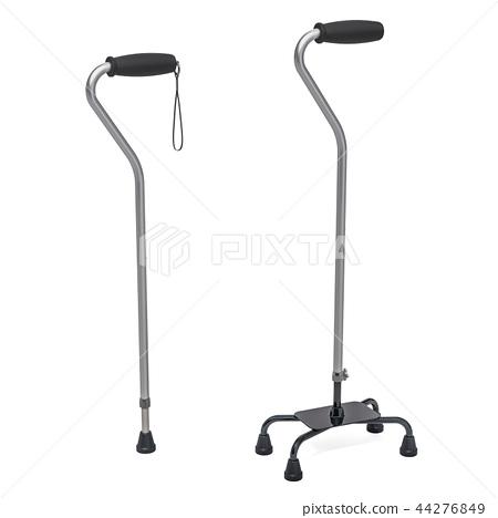 Medline quad cane and walking stick. 3D rendering 44276849