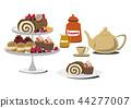 布什多诺尔。卷蛋糕。圣诞蛋糕。生日蛋糕。甜食的图像素材。 44277007