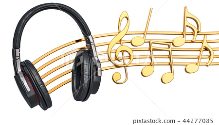 Musical concept. Headphones with music notes 44277085