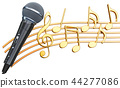 Musical concept. Microphone with music notes 44277086