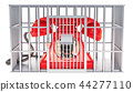 Phone inside cage, prison cell. 3D rendering 44277110