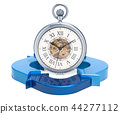 pocket watch with blue arrows. Time management 44277112