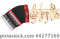 Musical concept. Accordion with music notes 44277169