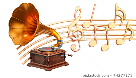 Musical concept. Gramophone with music notes 44277173