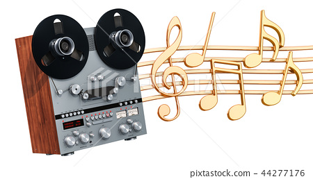 Musical concept. Retro reel-to-reel tape recorder 44277176