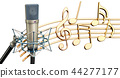 Musical concept. Studio microphone with music 44277177