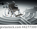Wheelchair at center of a maze. 3D rendering 44277300