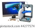 3d printed firearms, gun concept. 3D rendering 44277574