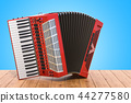 Accordion on the wooden table. 3D rendering 44277580