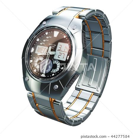 Analog Digital Wrist Watch for men, 3D rendering 44277584