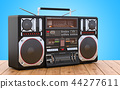Boombox on the wooden table, 3D rendering 44277611