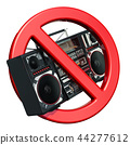 Boombox with forbidden symbol, 3D rendering 44277612