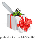 Chainsaw inside gift box. 3D rendering 44277682