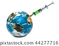 Earth Globe with syringe, vaccine education 44277716