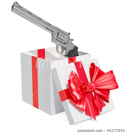 Gift concept, revolver inside gift box 44277850