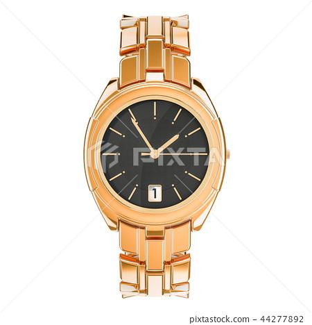Golden men's wrist watch, front view. 3D rendering 44277892