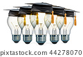 Idea concept. Light bulbs with graduation caps 44278070